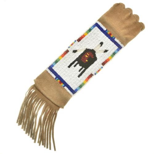 Vintage Indian Beaded Buckskin Pipe Bag 30365