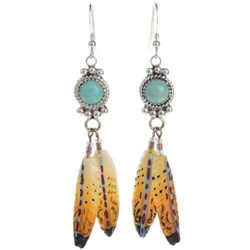 Turquoise Feather Dangle Earrings 22070