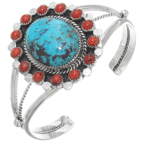 Turquoise Coral Silver Ladies Cuff 23888