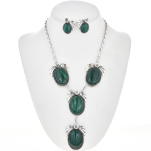 Navajo Malachite Silver Y Necklace Set 29170