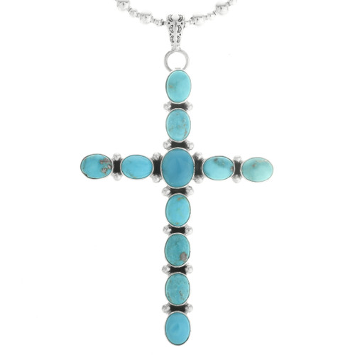Turquoise Silver Cross Pendant 19502