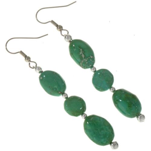 Turquoise Dangle Silver Earrings 28305