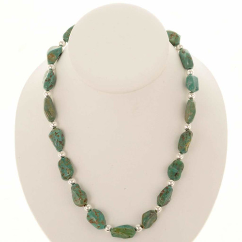 Turquoise Nugget Silver Necklace 25091