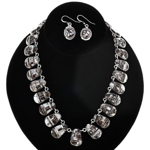 Inlaid Wild Horse Magnesite Silver Necklace Set 29686