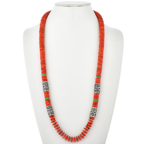 Apple Coral Turquoise Singer Style Necklace 29586