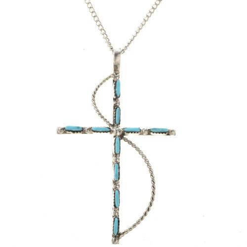 Needlepoint Turquoise Silver Pendant 28832