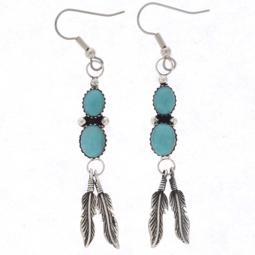 Blue Turquoise Feathers Earring 22149