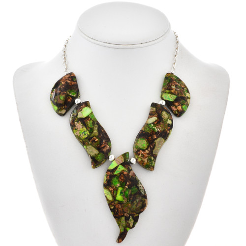 Green Turquoise Bronze Infused Necklace 28769