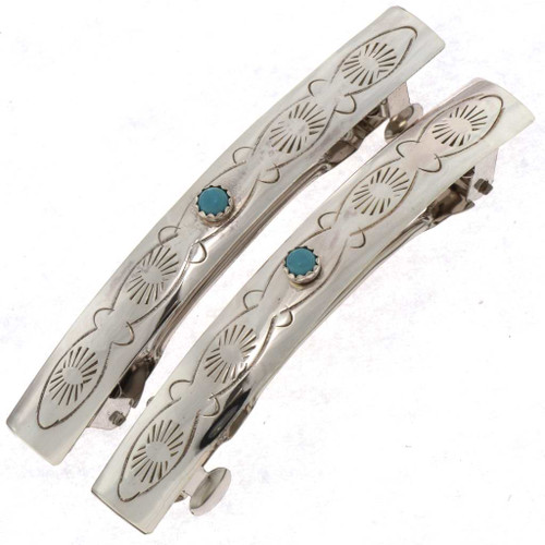 Turquoise Silver Barrettes 22792