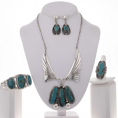 Blue Diamond Turquoise Sterling Necklace Set 20981