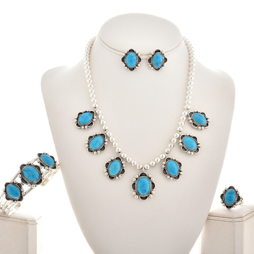 Turquoise Silver Bead Navajo Necklace Set 28915