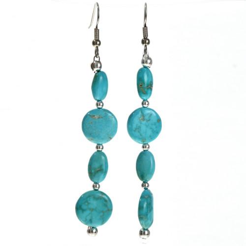 Turquoise Silver Bead Earrings 29238