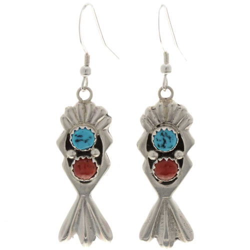 Turquoise Coral Dangle Earrings 26924