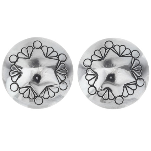 Native American Silver Concho Stud Earrings 20741