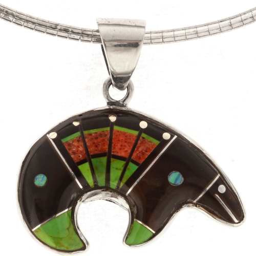 Native American Inlaid Lapis Silver Bear Necklace 25435