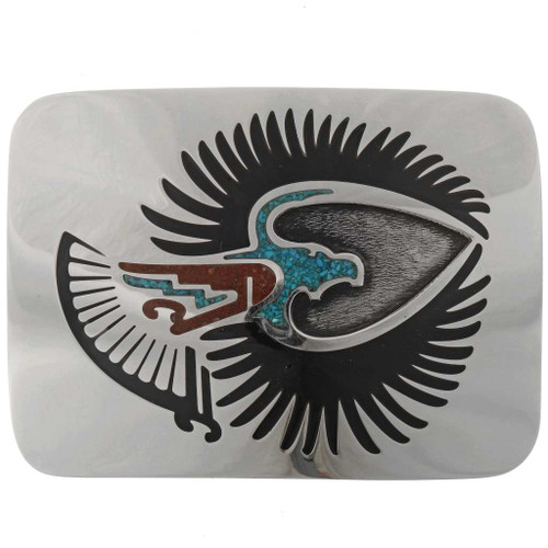 Inlaid Southwest Silver Belt Buckle 27426