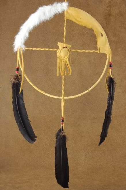 12 inch Native Four Corners Buckskin Fur Medicine Wheel