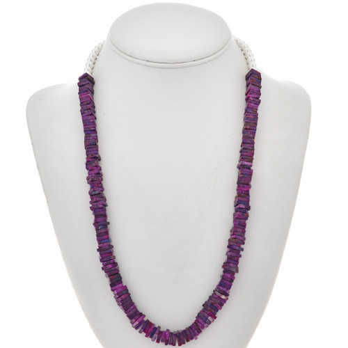 Purple Turquoise Silver Bead Necklace 28923