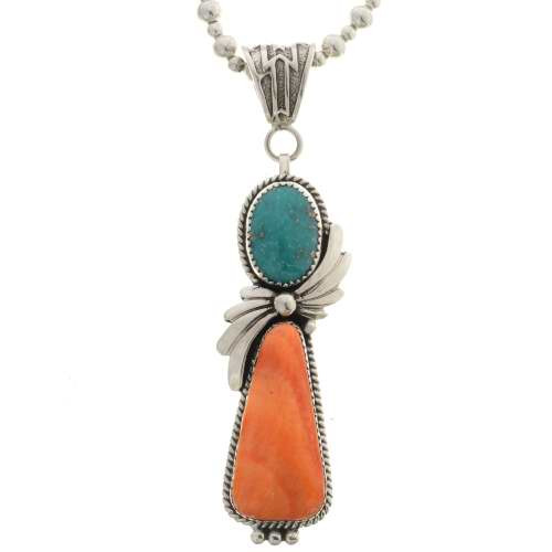 Spiny Oyster Turquoise Silver Pendant 26449