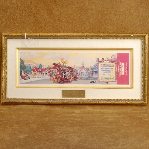 Framed Disney Toontown Commemorative Passport Unused Ticket 1993