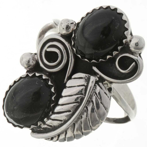Navajo Silver Onyx Ladies Ring 27176