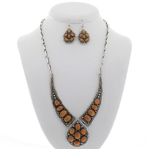 Navajo Coral Silver Necklace Set 27756
