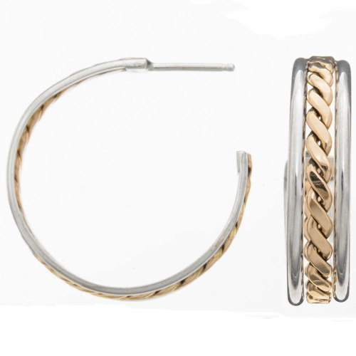 Navajo Silver Gold Earrings 25912