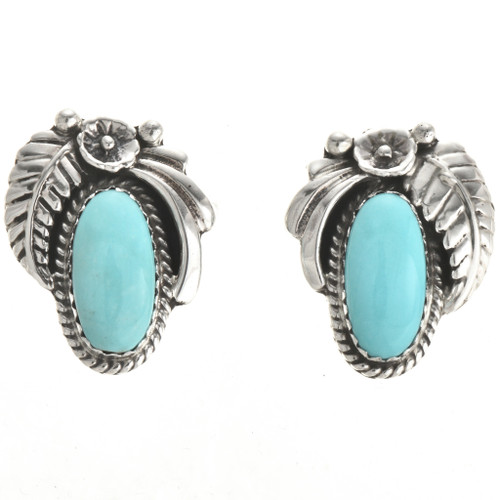 Navajo Turquoise Sterling Earrings 29398