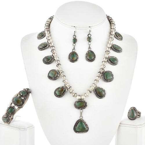 Navajo Green Turquoise Silver Necklace Set 11236