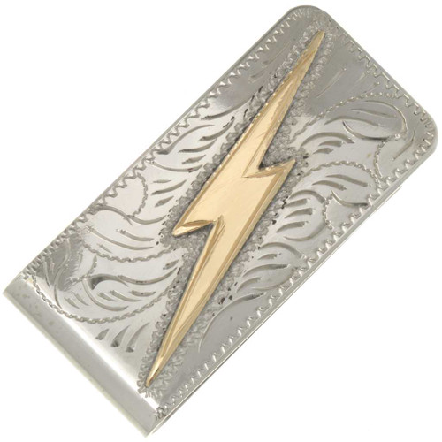Gold Lightning Bolt Silver Money Clip 26693