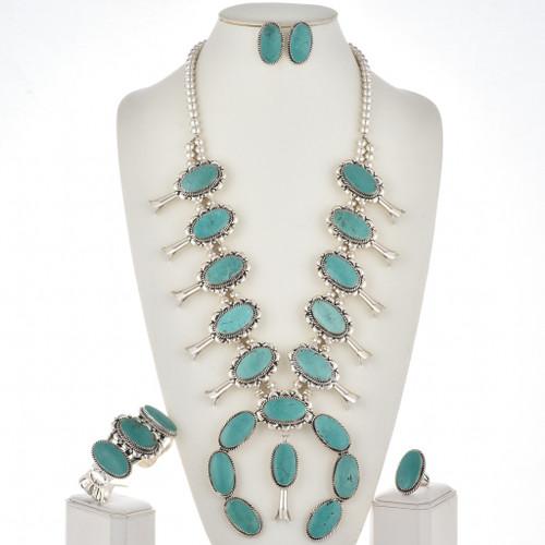 Turquoise Squash Blossom Necklace Navajo Full Size Set 29449