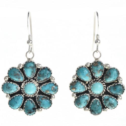 Turquoise Cluster Navajo Earrings 29099