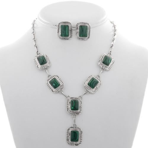 Malachite Silver Y Necklace Set 27738
