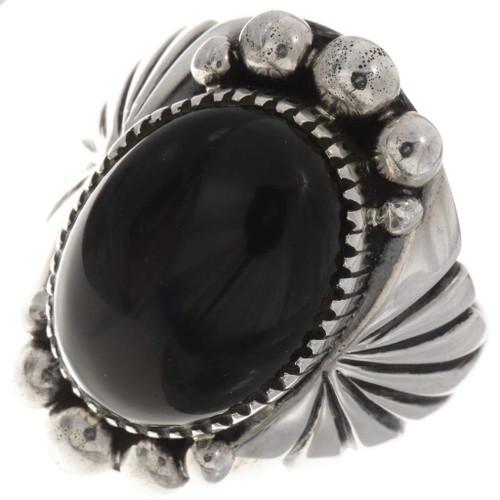 Black Onyx Silver Mens Ring 24018