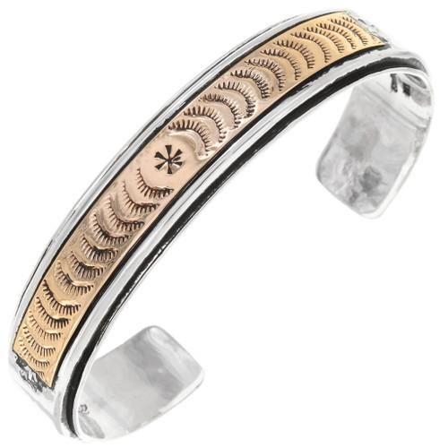 Navajo Gold Silver Hammered Cuff 23045