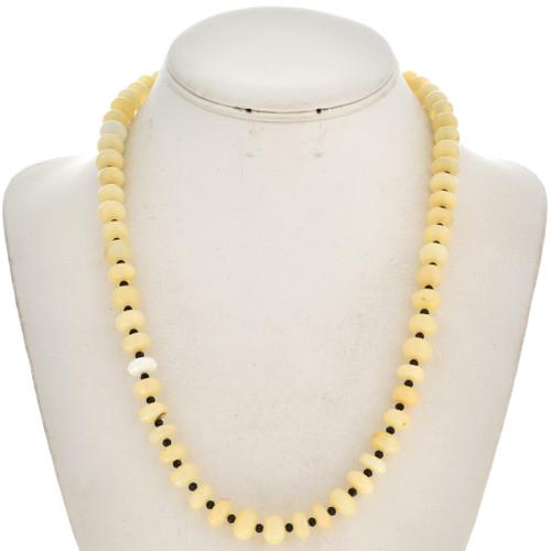 Genuine Opal Black Spinel Navajo Necklace 29742
