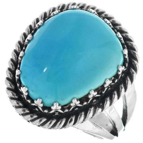 Turquoise Silver Navajo Ring 27804