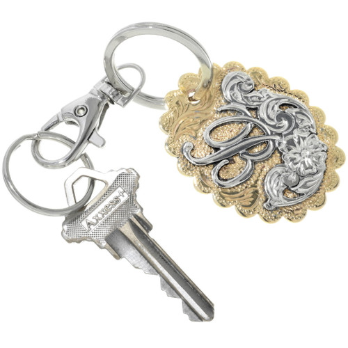 Custom Engraved Silver Gold Key Ring 33527