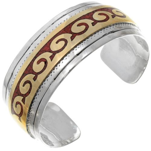 Navajo Coral Chip Inlay Bracelet 13230