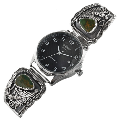 Old Emerald Valley Turquoise Silver Watch 29635