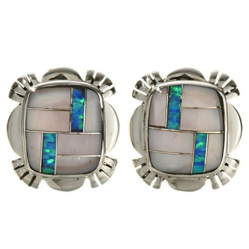 Inlaid Pink Shell Opal Silver Earrings 29538