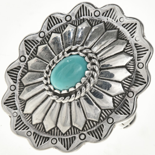 Turquoise Silver Concho Ring 28941