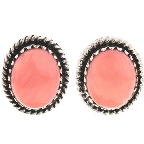 Pink Coral Navajo Post Earrings 28867