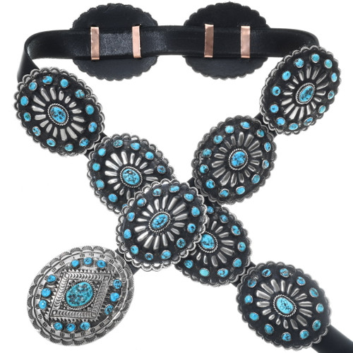 Turquoise Silver Concho Belt 16913