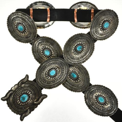 Sleeping Beauty Turquoise Silver Concho Belt 29485