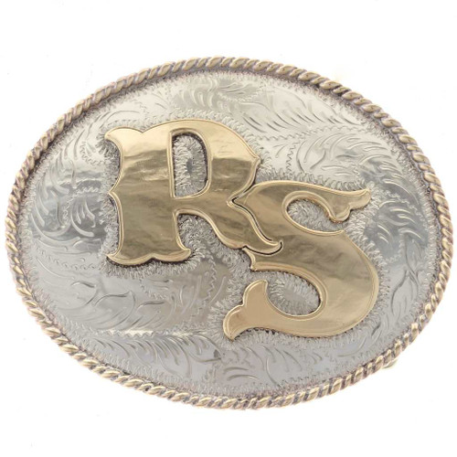 Gold Silver Rodeo Belt Buckle 23917