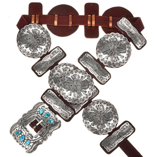 Navajo Turquoise Silver Concho Belt 20168