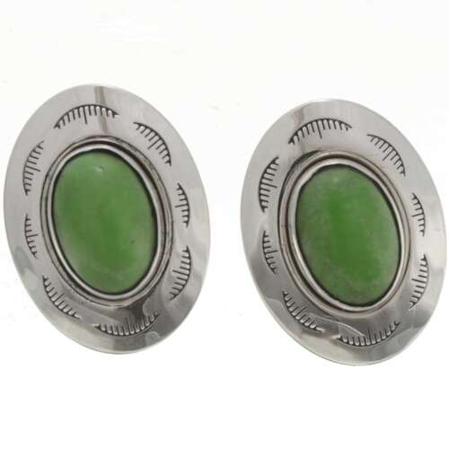 Apple Green Silver Cuff Links 26705