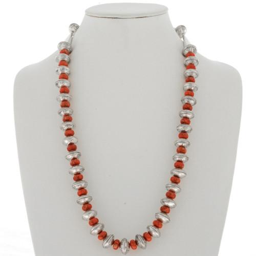 Navajo Mercury Dime Coral Necklace 27781