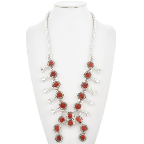 Silver Coral Squash Blossom Necklace 27896